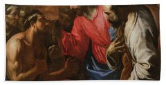 Christ Healing The Blind Man Of Jericho Hand Towel