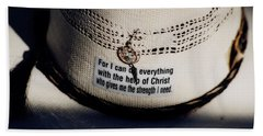Hand Towel featuring the photograph Christian Cowboy by Amanda Smith