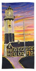 Bath Towel featuring the painting Christmas At The Lighthouse by Donna Blossom