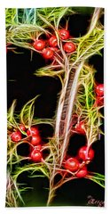 Bath Towel featuring the photograph Christmas Berries by EricaMaxine  Price