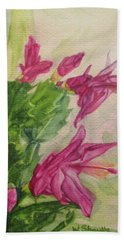 Hand Towel featuring the painting Christmas Cactus by Wendy Shoults