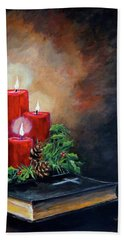 Hand Towel featuring the painting Christmas Candles by Alan Lakin