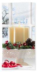 Christmas Candles Display Bath Towel