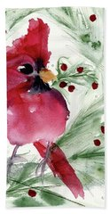 Hand Towel featuring the painting Christmas Cardinal by Dawn Derman