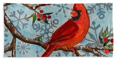 Christmas Cardinal Hand Towel by Li Newton
