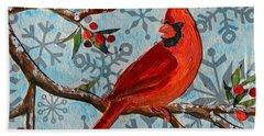 Christmas Cardinal Hand Towel