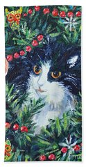 Christmas Catouflage Bath Towel by Li Newton