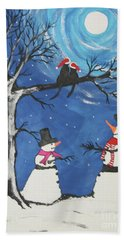 Christmas Cats In Love Hand Towel by Jeffrey Koss