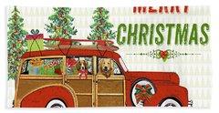 Christmas Cheer-greeting Card Bath Towel