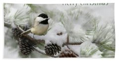Hand Towel featuring the photograph Christmas Chickadee by Lori Deiter
