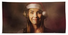 Hand Towel featuring the photograph Christmas Disco Dj Woman by Jorgo Photography - Wall Art Gallery