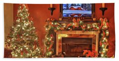 Bath Towel featuring the painting Christmas Fire by Harry Warrick