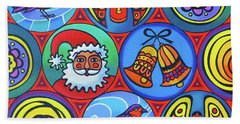 Christmas In Circles Bath Towel
