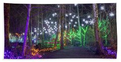 Christmas Lights Decoration Along Lafarge Lake Path Hand Towel