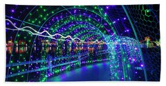 Christmas Lights In Tunnel At Lafarge Lake Hand Towel