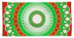 Christmas Mandala Fractal 002 Bath Towel