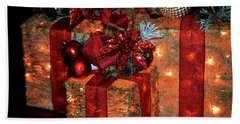 Christmas Packages 1 Hand Towel by Lesa Fine