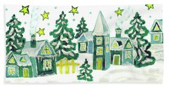 Christmas Picture In Green Hand Towel