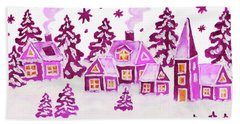 Christmas Picture In Pink Colours Bath Towel by Irina Afonskaya