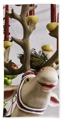 Bath Towel featuring the photograph Christmas Reindeer Games by Betty Denise
