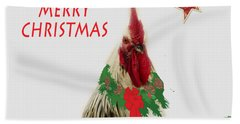Bath Towel featuring the photograph Christmas Rooster Tee-shirt by Donna Brown