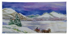 Hand Towel featuring the painting Christmas Sleigh by Dawn Senior-Trask