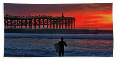 Christmas Surfer Sunset Hand Towel