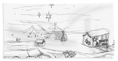 Hand Towel featuring the drawing Christmas Village by Artists With Autism Inc