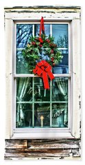 Christmas Window Hand Towel by Sandy Moulder
