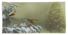 Christmas With The Goldfinches Hand Towel by Janette Boyd