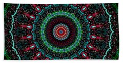 Bath Towel featuring the digital art Christmas Wreath Kaleidoscope by Joy McKenzie