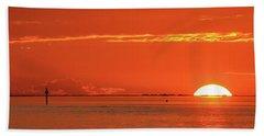 Christopher Columbus Sailing Ship Nina Sails Off Into The Sunset Panoramic Bath Towel