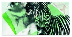Hand Towel featuring the painting Chronickles Of Zebra Boy   by Rene Capone