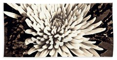Hand Towel featuring the photograph Chrysanthemum In Sepia 2  by Sarah Loft