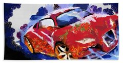 Chubby Car Red Bath Towel by Catherine Lott