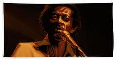 Chuck Berry Gold Hand Towel by Paul Meijering