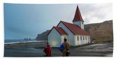 Hand Towel featuring the photograph Church Above Reynisfjara Black Sand Beach, Iceland by Dubi Roman
