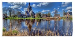 Church Along The Amstel River Hand Towel by Nadia Sanowar