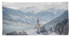 Church In Alpine Zillertal Valley In Winter Hand Towel