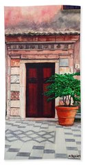Church Side Door - Taormina Sicily Bath Towel by Mike Robles