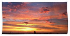 Church Steeple And City Sunrise Hand Towel