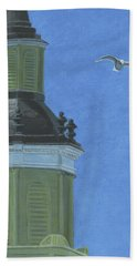 Church Steeple With Seagull Hand Towel