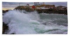 Hand Towel featuring the photograph Churning Seas At Cape Neddick by Rick Berk