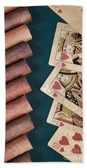Hand Towel featuring the photograph Cigars And Playing Cards  by Andrey  Godyaykin