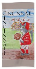 Cinci Reds Cat Hand Towel by Diane Pape