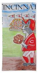 Bath Towel featuring the painting Cinci Reds Cat by Diane Pape