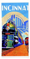 Cincinnati Railway, Trains, Travel Poster Bath Towel