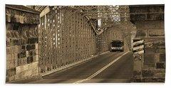 Cincinnati - Roebling Bridge 1 Sepia Bath Towel by Frank Romeo