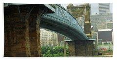 Cincinnati - Roebling Bridge 2 Hand Towel by Frank Romeo