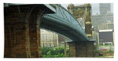 Cincinnati - Roebling Bridge 2 Bath Towel by Frank Romeo